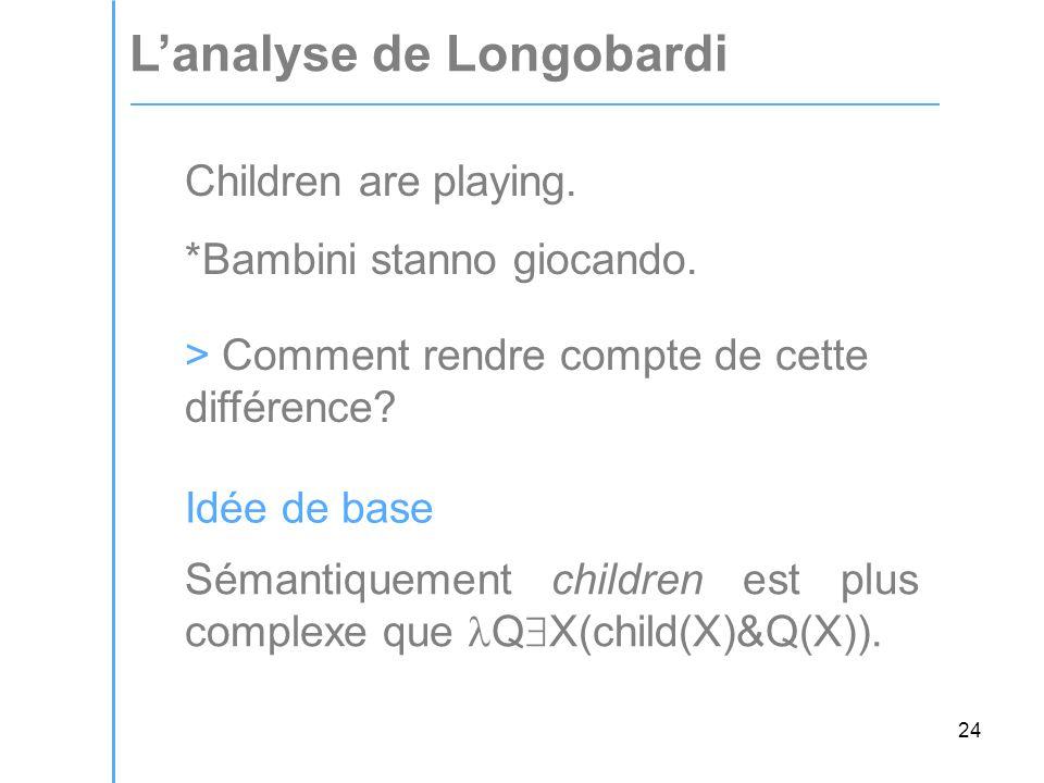 24 L'analyse de Longobardi Children are playing. *Bambini stanno giocando.