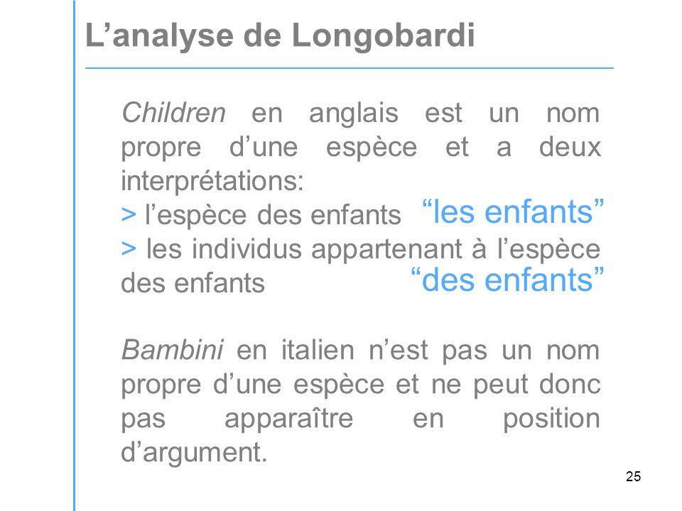 25 L'analyse de Longobardi Bambini en italien n'est pas un nom propre d'une espèce et ne peut donc pas apparaître en position d'argument.