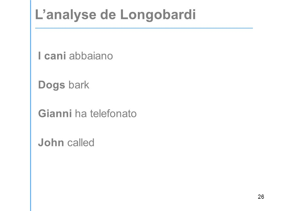 26 I cani abbaiano Dogs bark Gianni ha telefonato John called L'analyse de Longobardi