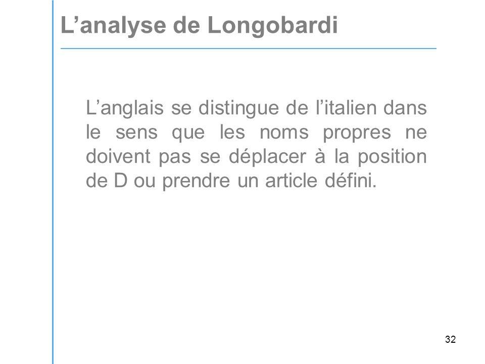 32 L'analyse de Longobardi L'anglais se distingue de l'italien dans le sens que les noms propres ne doivent pas se déplacer à la position de D ou prendre un article défini.