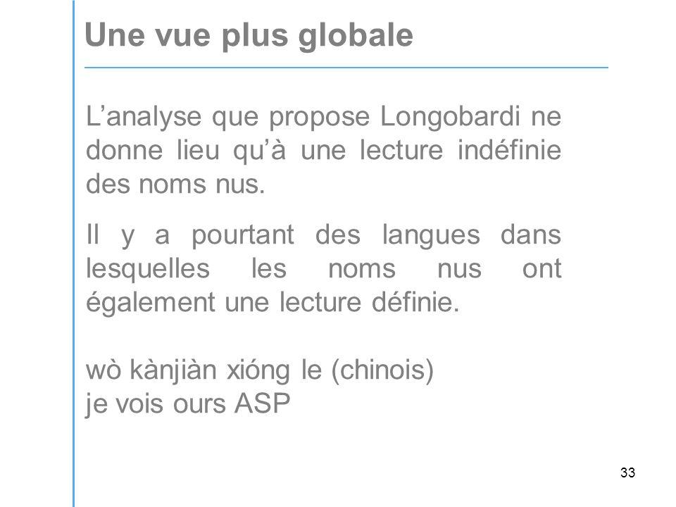 33 Une vue plus globale L'analyse que propose Longobardi ne donne lieu qu'à une lecture indéfinie des noms nus.