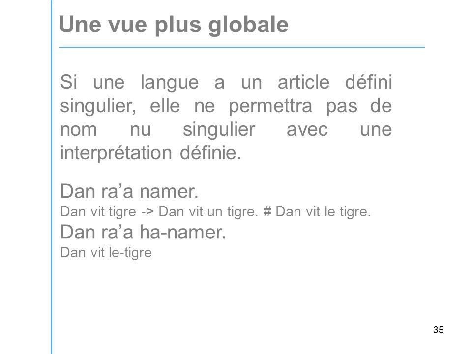 35 Une vue plus globale Si une langue a un article défini singulier, elle ne permettra pas de nom nu singulier avec une interprétation définie.