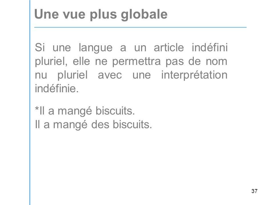 37 Une vue plus globale Si une langue a un article indéfini pluriel, elle ne permettra pas de nom nu pluriel avec une interprétation indéfinie.