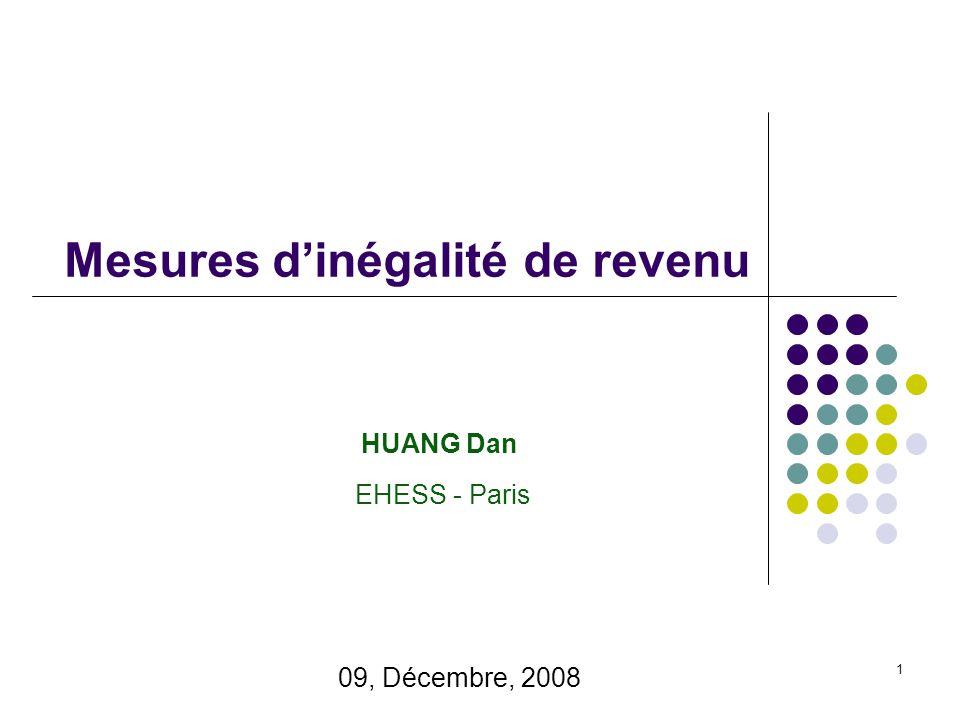 1 Mesures d'inégalité de revenu EHESS - Paris HUANG Dan 09, Décembre, 2008