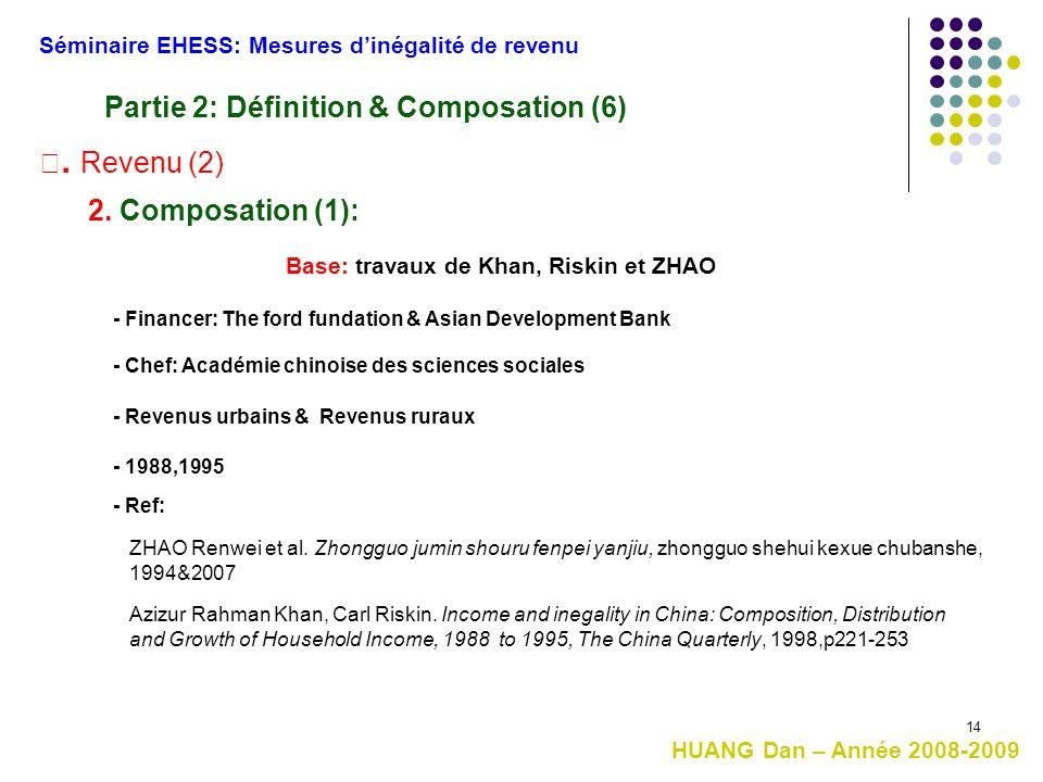 14 Base: travaux de Khan, Riskin et ZHAO HUANG Dan – Année 2008-2009 Séminaire EHESS: Mesures d'inégalité de revenu Ⅲ. Revenu (2) Partie 2: Définition