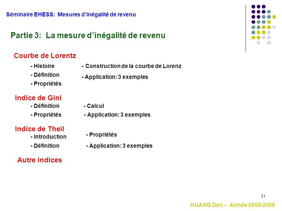 21 Partie 3: La mesure d'inégalité de revenu Séminaire EHESS: Mesures d'inégalité de revenu HUANG Dan – Année 2008-2009 Indice de Theil Indice de Gini