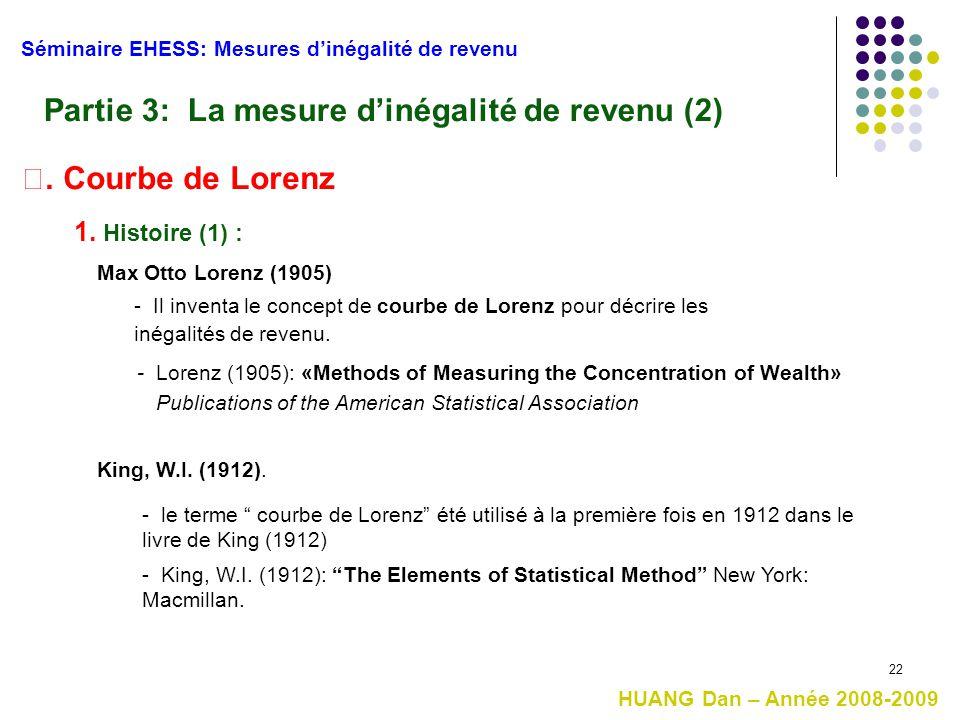22 1. Histoire (1) : Séminaire EHESS: Mesures d'inégalité de revenu HUANG Dan – Année 2008-2009 Partie 3: La mesure d'inégalité de revenu (2) Ⅰ. Courb