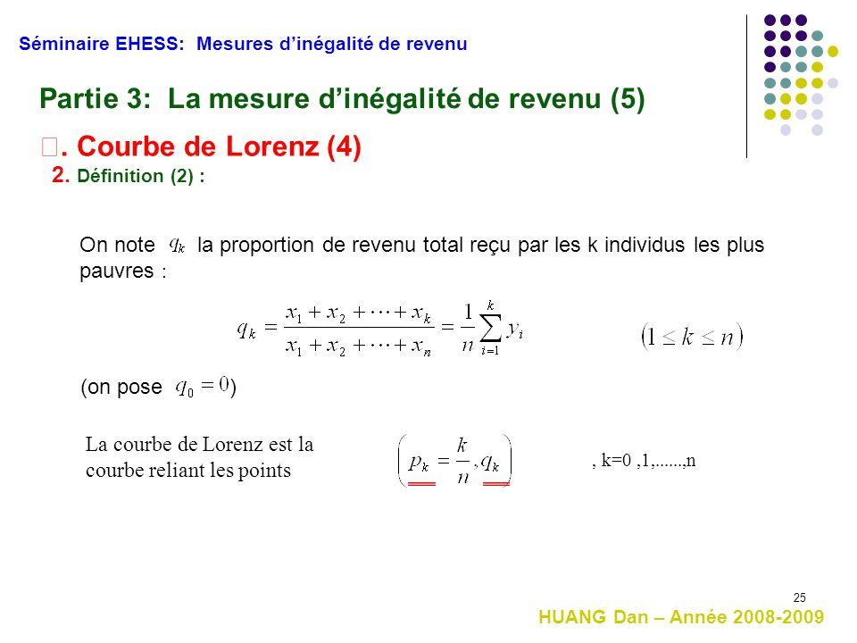 25 Séminaire EHESS: Mesures d'inégalité de revenu HUANG Dan – Année 2008-2009 Partie 3: La mesure d'inégalité de revenu (5) Ⅰ. Courbe de Lorenz (4) On