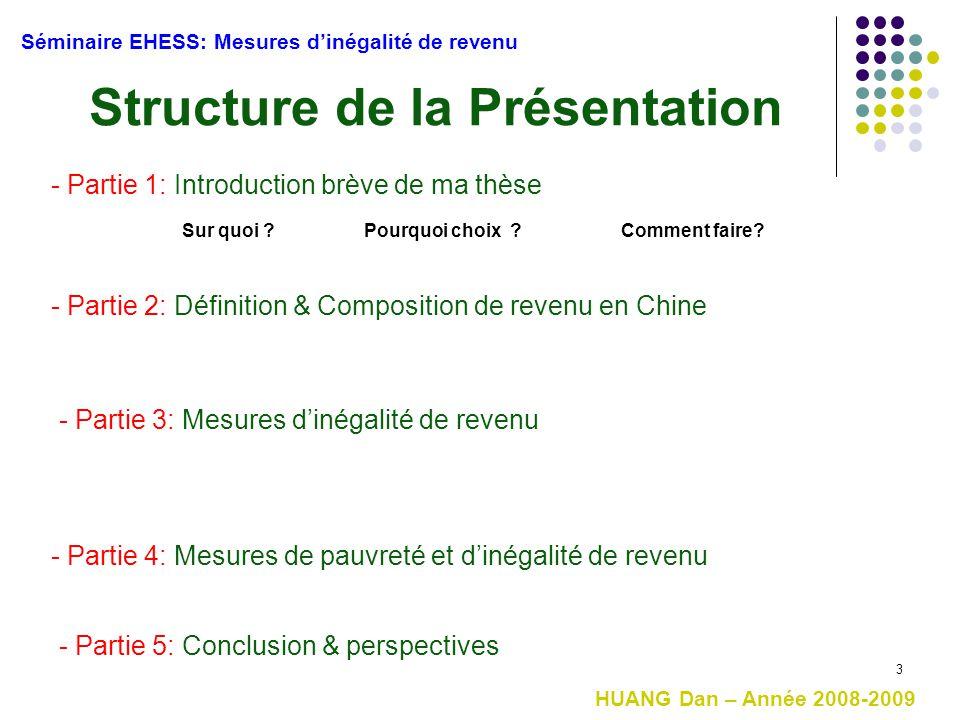 3 Structure de la Présentation HUANG Dan – Année 2008-2009 Séminaire EHESS: Mesures d'inégalité de revenu - Partie 1: Introduction brève de ma thèse -