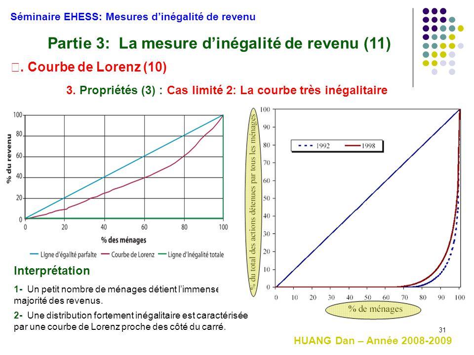 31 Séminaire EHESS: Mesures d'inégalité de revenu Partie 3: La mesure d'inégalité de revenu (11) Ⅰ. Courbe de Lorenz (10) 3. Propriétés (3) : Cas limi