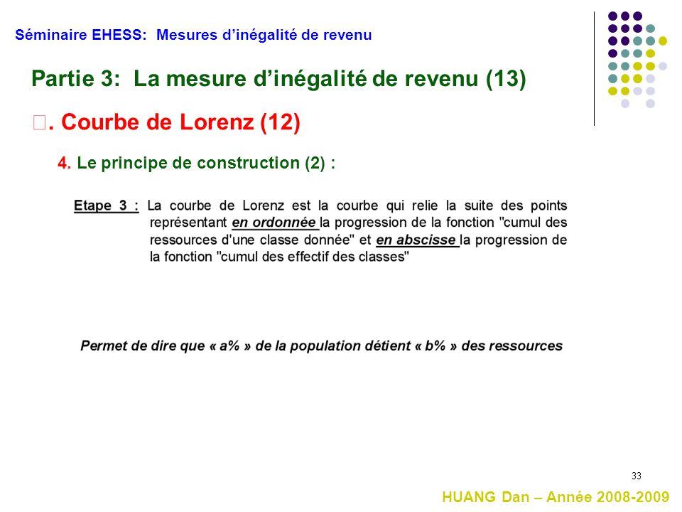 33 Séminaire EHESS: Mesures d'inégalité de revenu HUANG Dan – Année 2008-2009 Partie 3: La mesure d'inégalité de revenu (13) Ⅰ. Courbe de Lorenz (12)