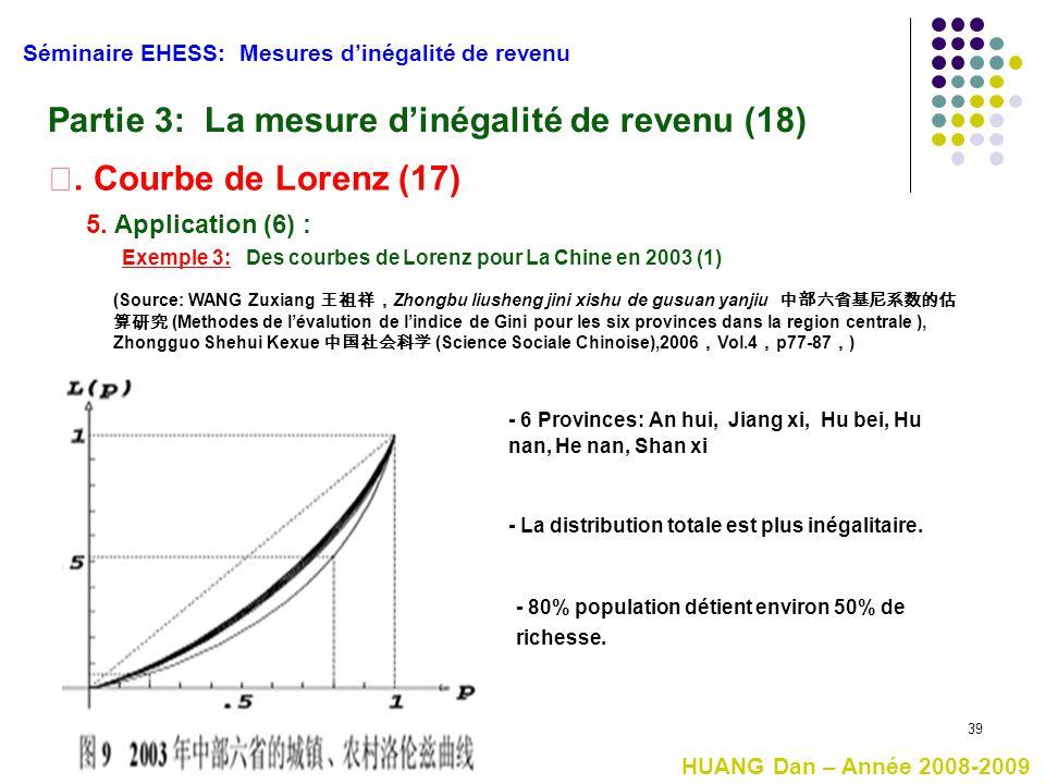 39 Séminaire EHESS: Mesures d'inégalité de revenu Partie 3: La mesure d'inégalité de revenu (18) Ⅰ. Courbe de Lorenz (17) 5. Application (6) : Exemple