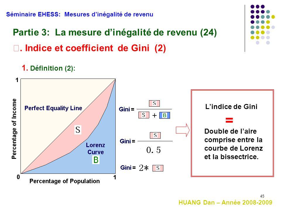 45 Séminaire EHESS: Mesures d'inégalité de revenu Partie 3: La mesure d'inégalité de revenu (24) Ⅱ. Indice et coefficient de Gini (2) HUANG Dan – Anné