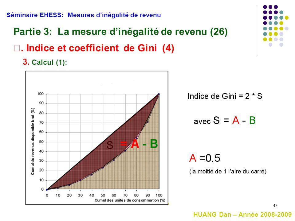 47 Séminaire EHESS: Mesures d'inégalité de revenu Partie 3: La mesure d'inégalité de revenu (26) Ⅱ. Indice et coefficient de Gini (4) 3. Calcul (1): H