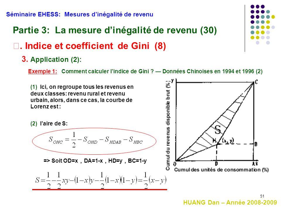51 HUANG Dan – Année 2008-2009 Séminaire EHESS: Mesures d'inégalité de revenu Partie 3: La mesure d'inégalité de revenu (30) Ⅱ. Indice et coefficient