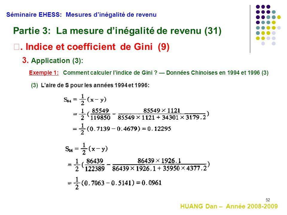 52 HUANG Dan – Année 2008-2009 Séminaire EHESS: Mesures d'inégalité de revenu Partie 3: La mesure d'inégalité de revenu (31) Ⅱ. Indice et coefficient