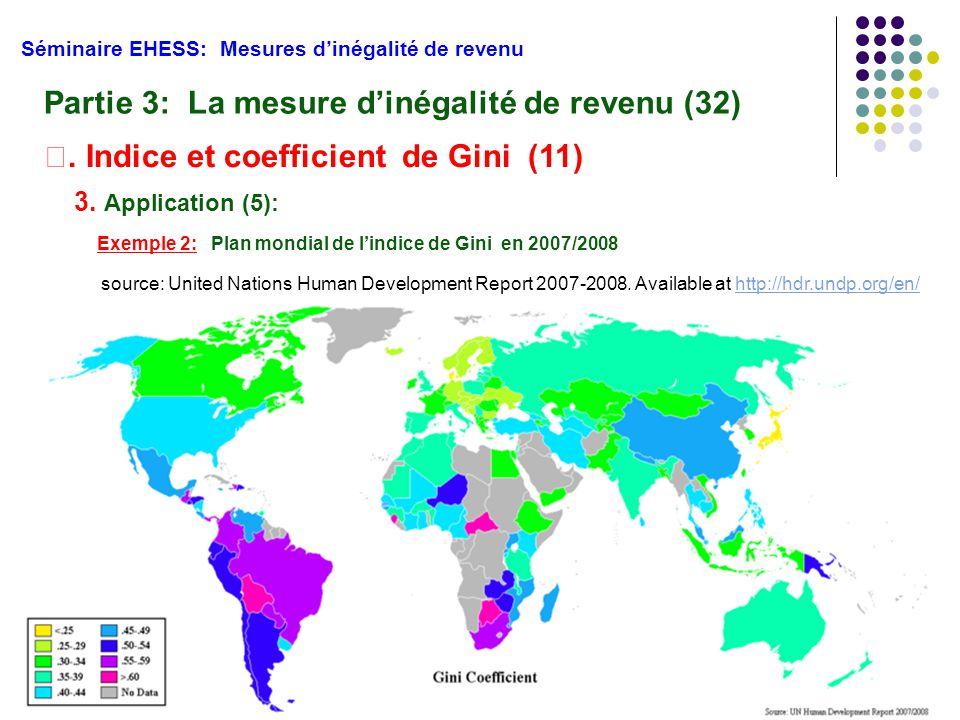 54 Séminaire EHESS: Mesures d'inégalité de revenu Partie 3: La mesure d'inégalité de revenu (32) Ⅱ. Indice et coefficient de Gini (11) 3. Application