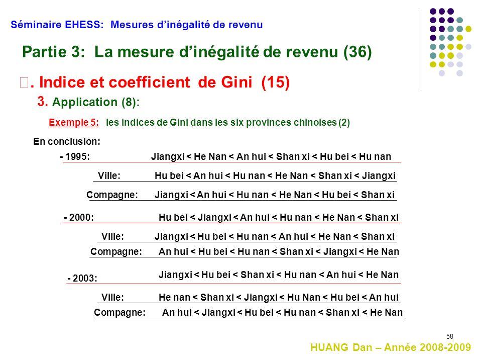 58 Séminaire EHESS: Mesures d'inégalité de revenu Partie 3: La mesure d'inégalité de revenu (36) 3. Application (8): Exemple 5: les indices de Gini da