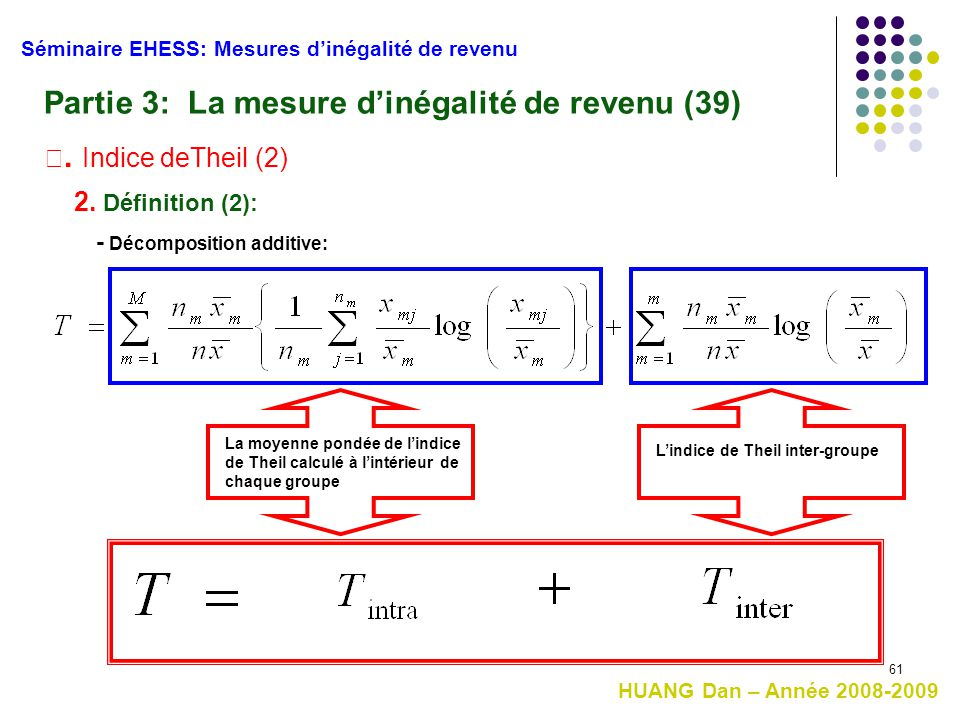 61 Séminaire EHESS: Mesures d'inégalité de revenu Partie 3: La mesure d'inégalité de revenu (39) Ⅲ. Indice deTheil (2) 2. Définition (2): La moyenne p
