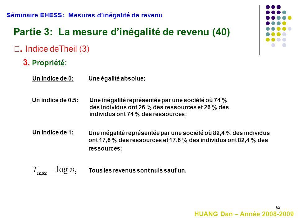 62 Séminaire EHESS: Mesures d'inégalité de revenu Partie 3: La mesure d'inégalité de revenu (40) Ⅲ. Indice deTheil (3) 3. Propriété: HUANG Dan – Année
