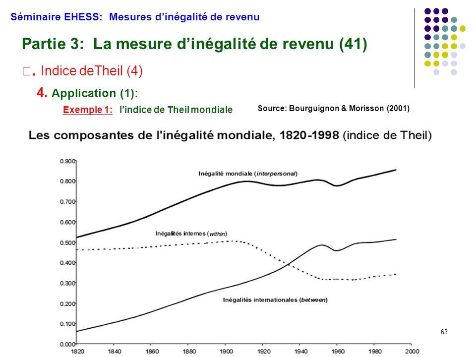 63 Séminaire EHESS: Mesures d'inégalité de revenu Partie 3: La mesure d'inégalité de revenu (41) Ⅲ. Indice deTheil (4) 4. Application (1): Exemple 1: