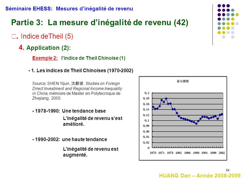 64 Séminaire EHESS: Mesures d'inégalité de revenu Partie 3: La mesure d'inégalité de revenu (42) Ⅲ. Indice deTheil (5) 4. Application (2): Exemple 2: