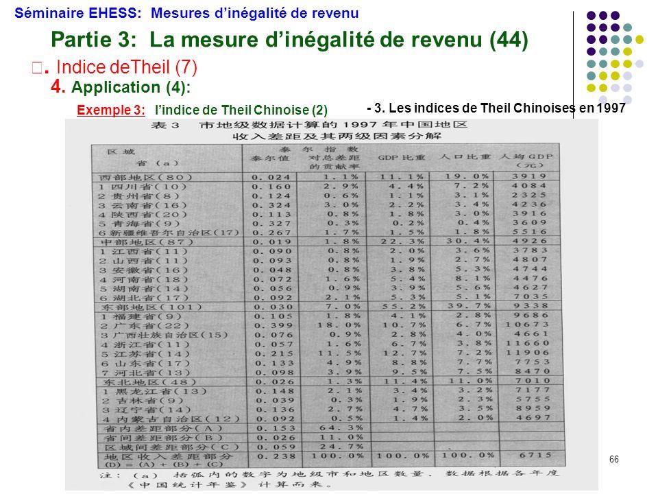 66 Séminaire EHESS: Mesures d'inégalité de revenu Partie 3: La mesure d'inégalité de revenu (44) Ⅲ. Indice deTheil (7) 4. Application (4): Exemple 3: