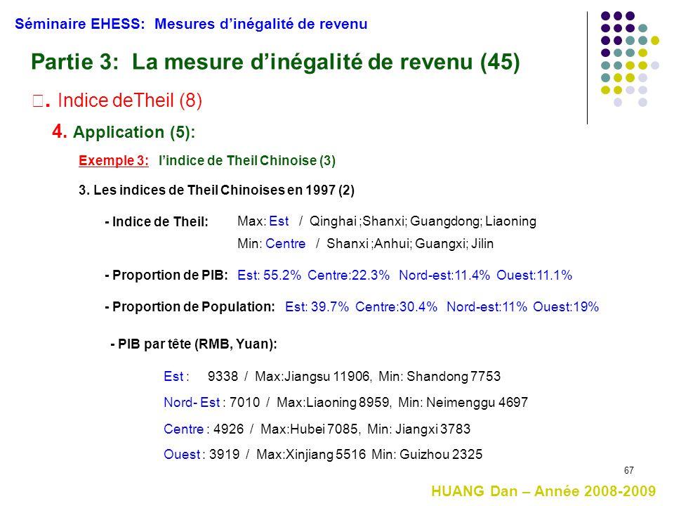 67 Séminaire EHESS: Mesures d'inégalité de revenu Partie 3: La mesure d'inégalité de revenu (45) Ⅲ. Indice deTheil (8) 4. Application (5): Exemple 3: