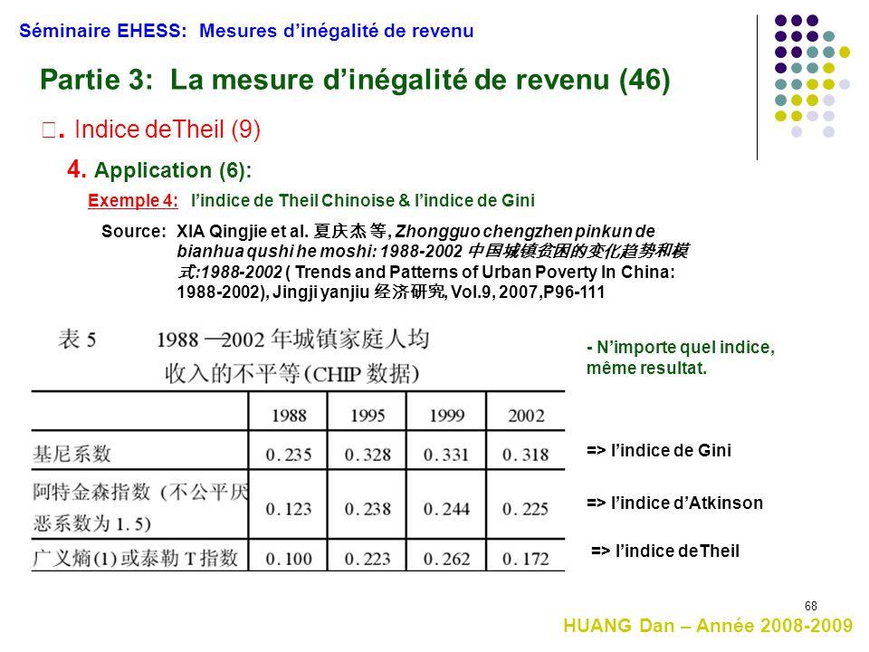 68 Séminaire EHESS: Mesures d'inégalité de revenu Partie 3: La mesure d'inégalité de revenu (46) Ⅲ. Indice deTheil (9) 4. Application (6): Exemple 4: