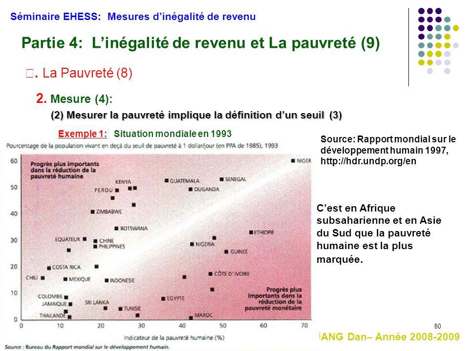 80 HUANG Dan– Année 2008-2009 (2) Mesurer la pauvreté implique la définition d'un seuil(3) (2) Mesurer la pauvreté implique la définition d'un seuil (