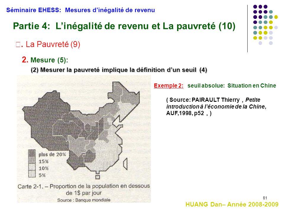 81 (2) Mesurer la pauvreté implique la définition d'un seuil(4) (2) Mesurer la pauvreté implique la définition d'un seuil (4) Séminaire EHESS: Mesures