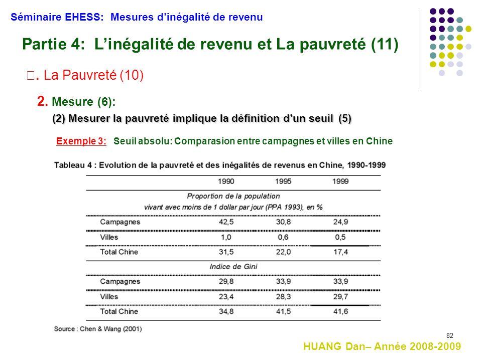 82 HUANG Dan– Année 2008-2009 (2) Mesurer la pauvreté implique la définition d'un seuil(5) (2) Mesurer la pauvreté implique la définition d'un seuil (