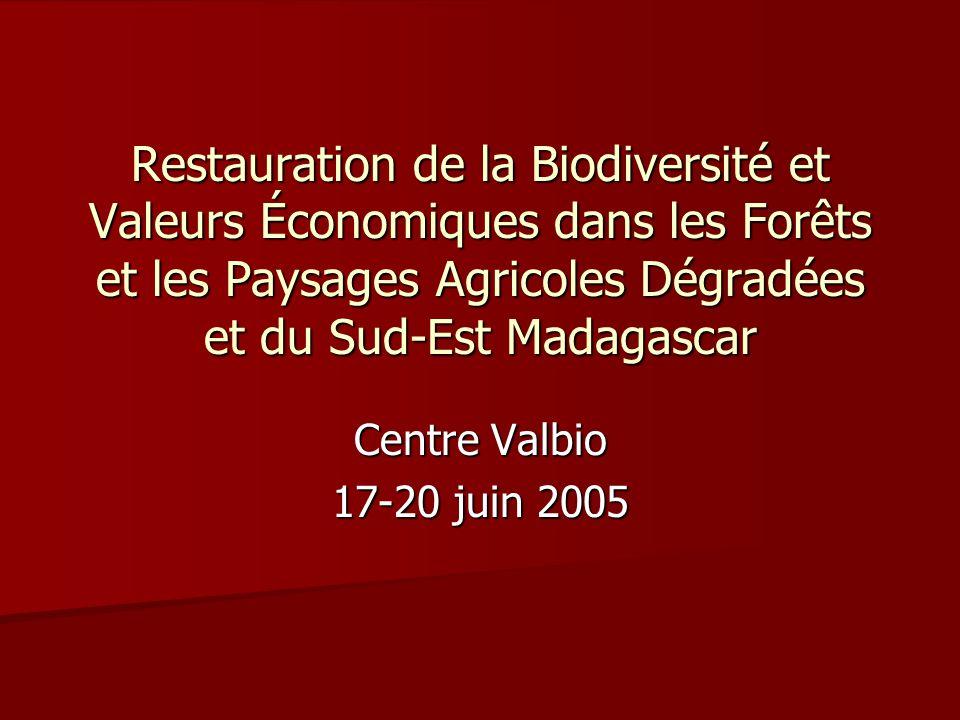 Restauration de la Biodiversité et Valeurs Économiques dans les Forêts et les Paysages Agricoles Dégradées et du Sud-Est Madagascar Centre Valbio 17-2