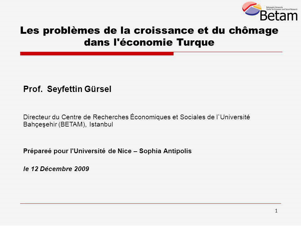 1 Les problèmes de la croissance et du chômage dans l économie Turque Prof.