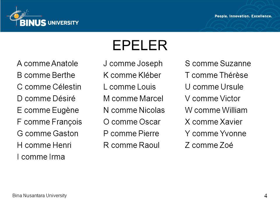 Bina Nusantara University 4 A comme Anatole B comme Berthe C comme Célestin D comme Désiré E comme Eugène F comme François G comme Gaston H comme Henr