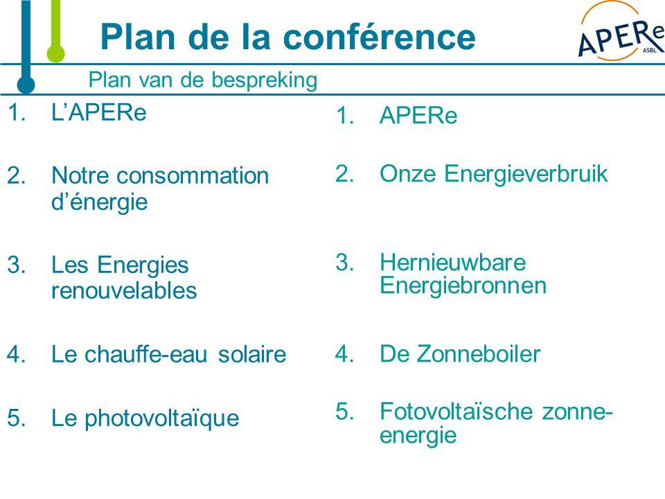 2 Plan de la conférence Plan van de bespreking 1.L'APERe 2.Notre consommation d'énergie 3.Les Energies renouvelables 4.Le chauffe-eau solaire 5.Le photovoltaïque 1.APERe 2.Onze Energieverbruik 3.Hernieuwbare Energiebronnen 4.De Zonneboiler 5.Fotovoltaïsche zonne- energie