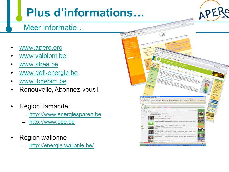 22 Meer informatie… Plus d'informations… www.apere.org www.valbiom.be www.abea.be www.defi-energie.be www.ibgebim.be Renouvelle, Abonnez-vous ! Région