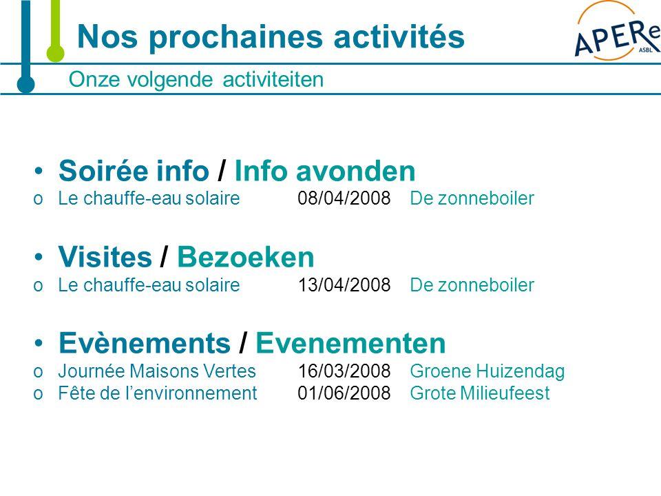 23 Onze volgende activiteiten Nos prochaines activités Soirée info / Info avonden oLe chauffe-eau solaire 08/04/2008 De zonneboiler Visites / Bezoeken