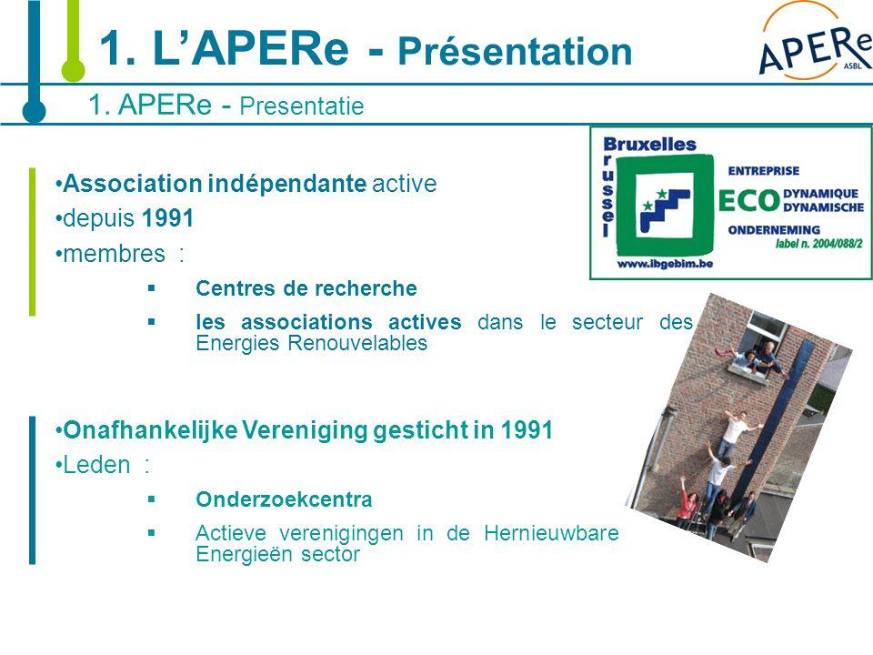 3 Association indépendante active depuis 1991 membres :  Centres de recherche  les associations actives dans le secteur des Energies Renouvelables O