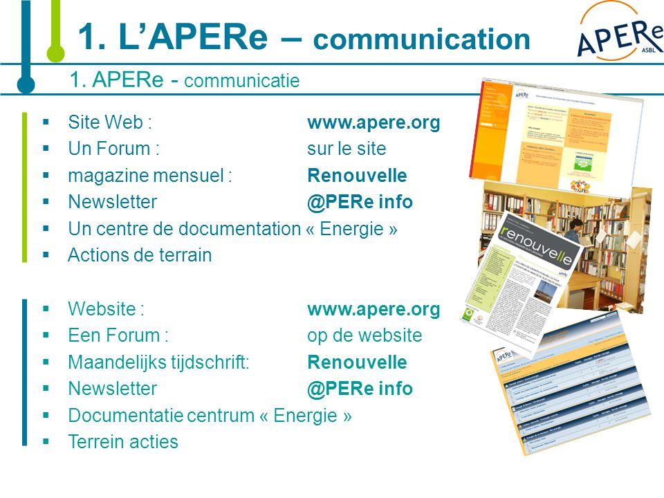 6 1. APERe - communicatie 1. L'APERe – communication  Site Web : www.apere.org  Un Forum : sur le site  magazine mensuel :Renouvelle  Newsletter@P