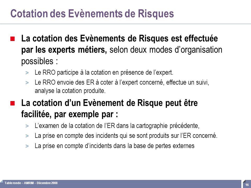 Table ronde – AMRIM – Décembre 2008 16 Cotation des Evènements de Risques La cotation des Evènements de Risques est effectuée par les experts métiers,