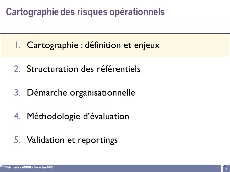 Table ronde – AMRIM – Décembre 2008 14 Identification des acteurs et affectation des ER Les évènements de risques doivent être attribués aux « experts » métiers internes les mieux à même de réaliser l'évaluation et / ou la validation.