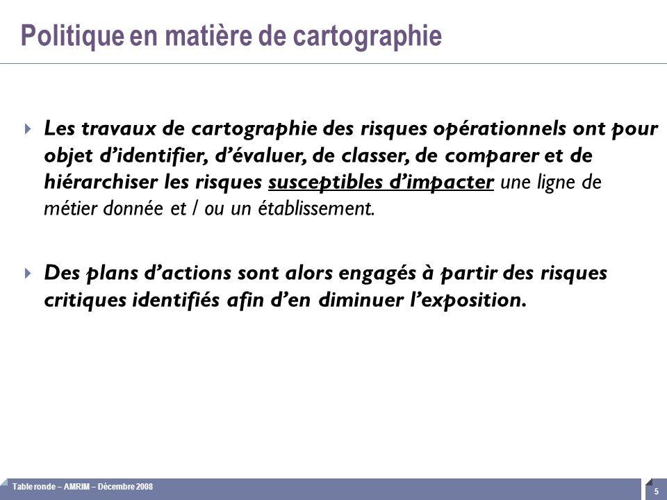Table ronde – AMRIM – Décembre 2008 5  Les travaux de cartographie des risques opérationnels ont pour objet d'identifier, d'évaluer, de classer, de c