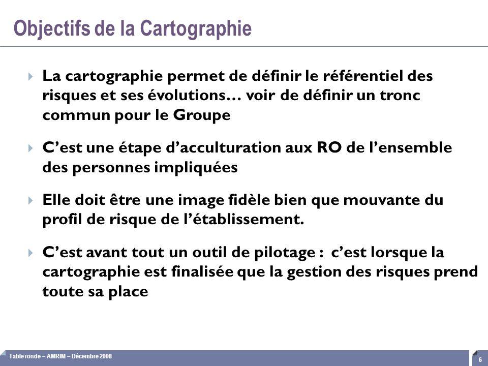 Table ronde – AMRIM – Décembre 2008 17 1.Cartographie : définition et enjeux 2.Structuration des référentiels 3.Démarche organisationnelle 4.Méthodologie d'évaluation 5.Validation et reportings Cartographie des risques opérationnels