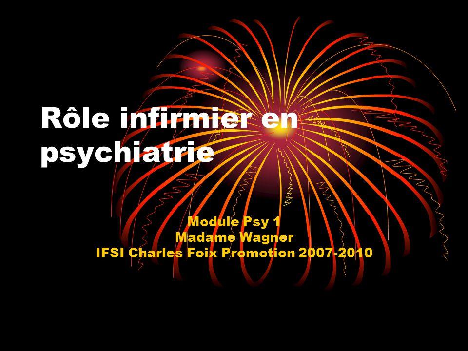 Rôle infirmier en psychiatrie Module Psy 1 Madame Wagner IFSI Charles Foix Promotion 2007-2010