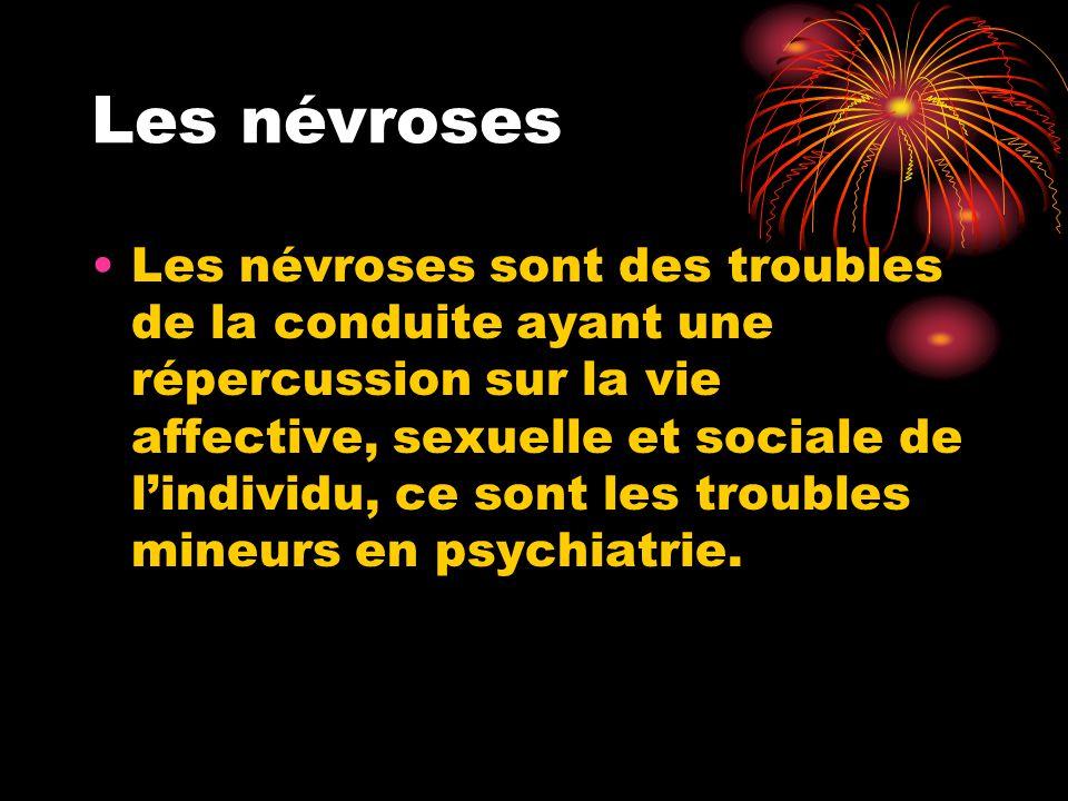Les névroses Les névroses sont des troubles de la conduite ayant une répercussion sur la vie affective, sexuelle et sociale de l'individu, ce sont les