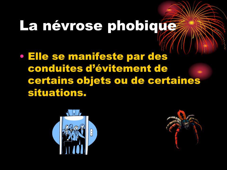La névrose phobique Elle se manifeste par des conduites d'évitement de certains objets ou de certaines situations.