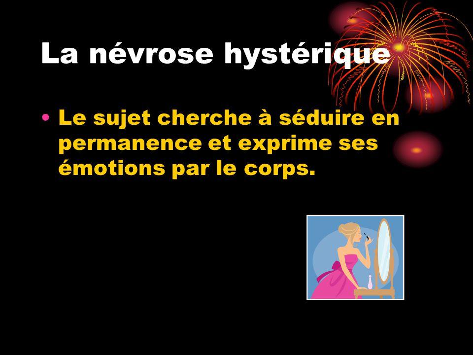 La névrose hystérique Le sujet cherche à séduire en permanence et exprime ses émotions par le corps.