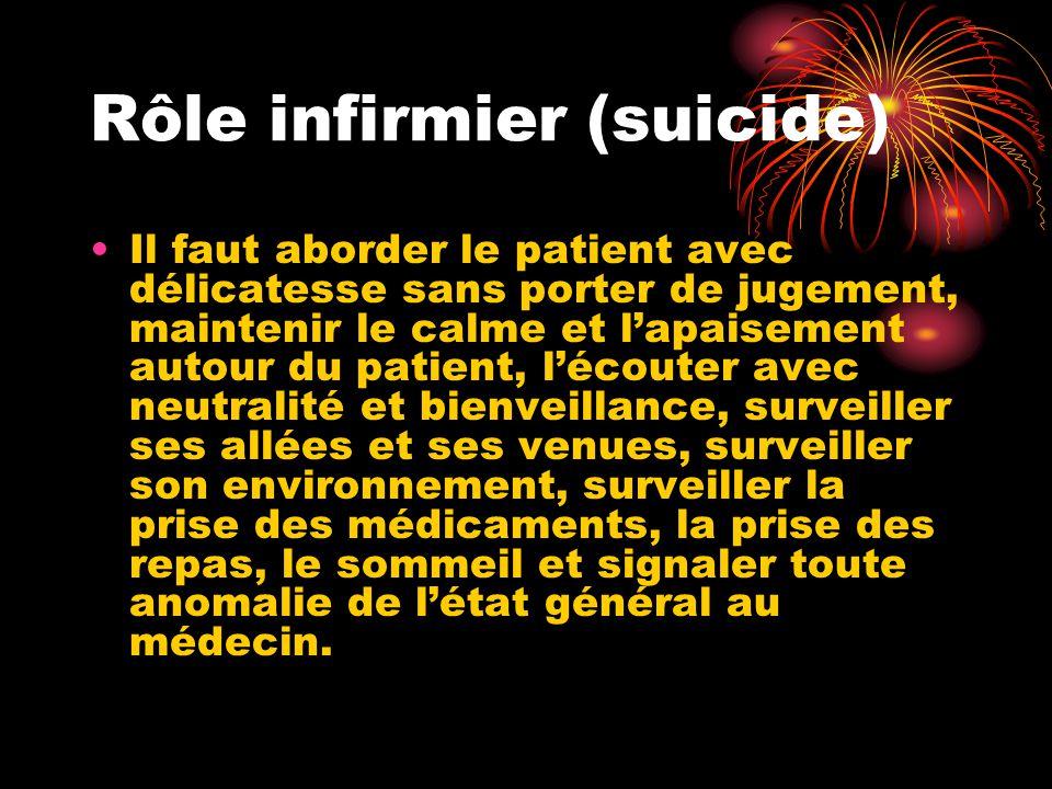 Rôle infirmier (suicide) Il faut aborder le patient avec délicatesse sans porter de jugement, maintenir le calme et l'apaisement autour du patient, l'