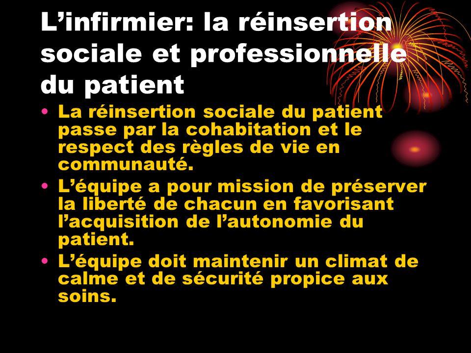 L'infirmier: la réinsertion sociale et professionnelle du patient La réinsertion sociale du patient passe par la cohabitation et le respect des règles